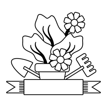 gardening flowers tools shovel rake ribbon emblem vector illustration Banco de Imagens - 124146376