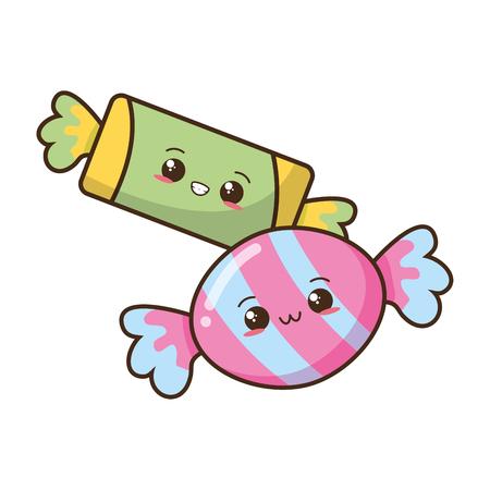 Kawaii dulces caramelos ilustración de vector de comida rápida