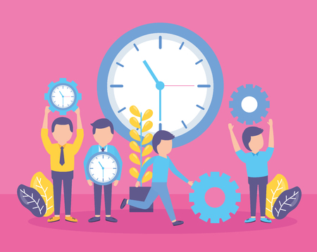 business people time clock gear creativity vector illustration