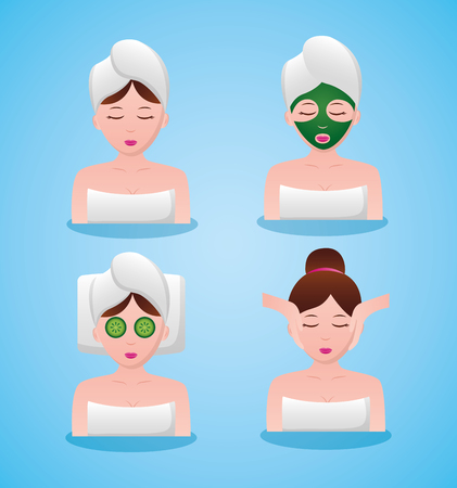 women spa therapy towel mask massage vector illustration