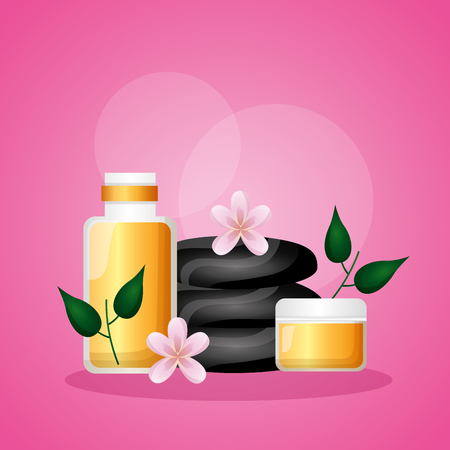 stones lotion cream spa treatment therapy vector illustration Foto de archivo - 124146428