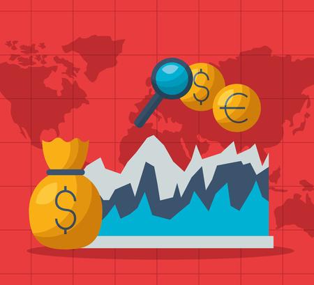 money bag chart euro dollar analysis financial stock market vector illustration Foto de archivo - 124146430
