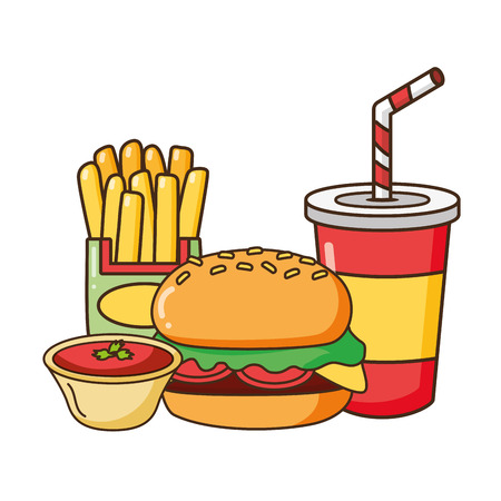 burger french fries soda sauce fast food vector illustration Stock Vector - 124146458