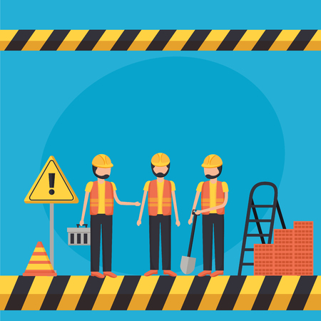 workers construction in uniform and equipment vector illustration Ilustração
