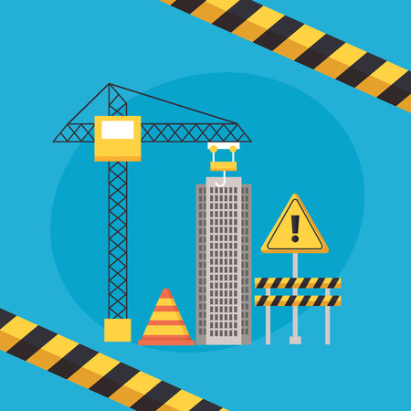 building barrier crane warning construction equipment vector illustration Ilustracja