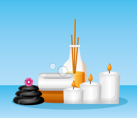 candles stones soap aroma sticks spa treatment therapy vector illustration