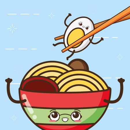 soup egg fast food cartoon vector illustration