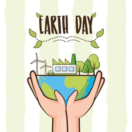 hands holding planet environment ecology earth day vector illustration Ilustração