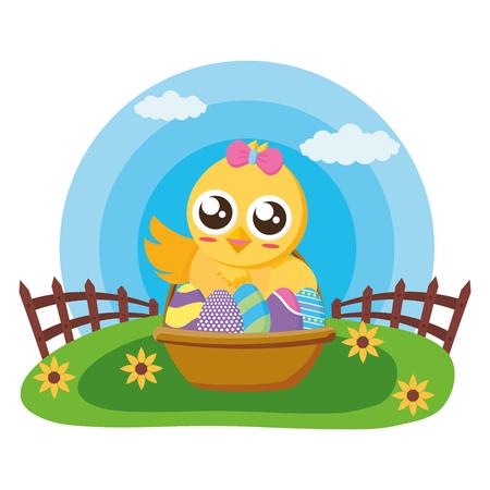 happy easter chick with filled basket eggs grass vector illustration Standard-Bild - 119865187