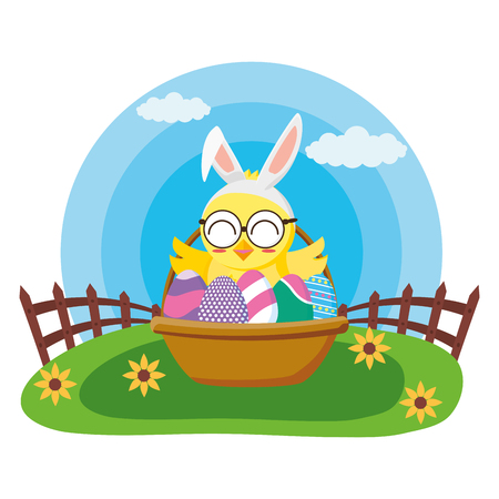 happy easter chick with filled basket eggs grass vector illustration Imagens - 124146562