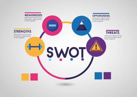 swot infographic analysis, colors graphic stats vector illustration Banco de Imagens - 124146598