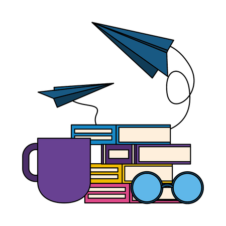 books eyeglasses paper plane coffee cup world book day vector illustration 스톡 콘텐츠 - 124146610