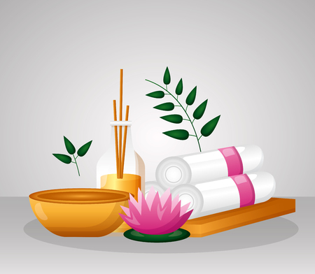 aromatherapy towels bowl flower spa therapy vector illustration