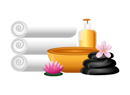 towels bowl gel stones flower spa treatment therapy vector illustration Foto de archivo - 124146636
