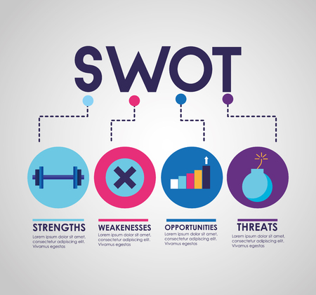 swot infographic analysis, colors graphic stats vector illustration Banco de Imagens - 124146648