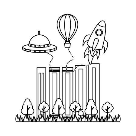 books trees rocket ufo imagination vector illustration Ilustração