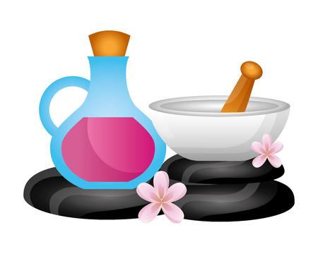 Bouteille d'huile bol pierres fleur spa thérapie vector illustration