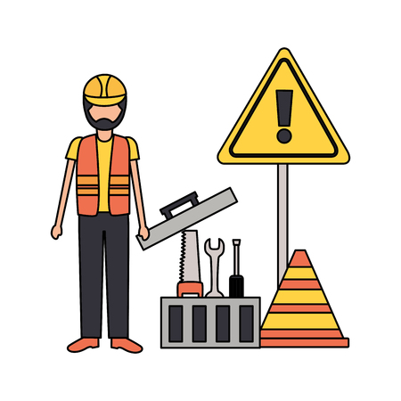 toolbox repair construction saw spanner screwdriver vector illustration Illustration
