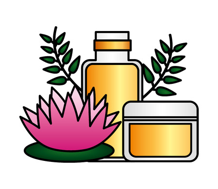 products care skin flower spa treatment therapy vector illustration