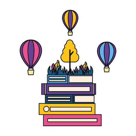 books hot air balloons tree world book day vector illustration Stock Illustratie