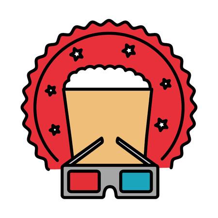 cinema glasses and popcorn isolated icon vector illustration design Vector Illustration