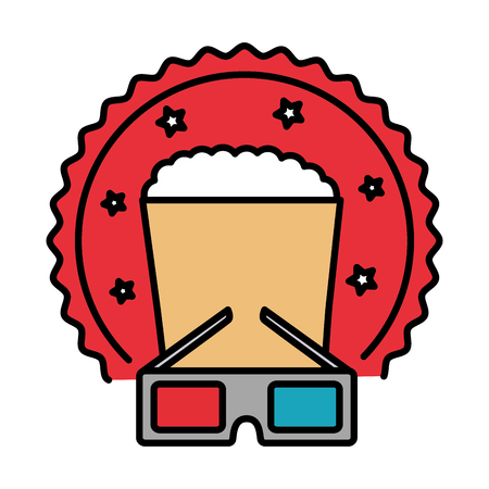 cinema glasses and popcorn isolated icon vector illustration design Ilustração