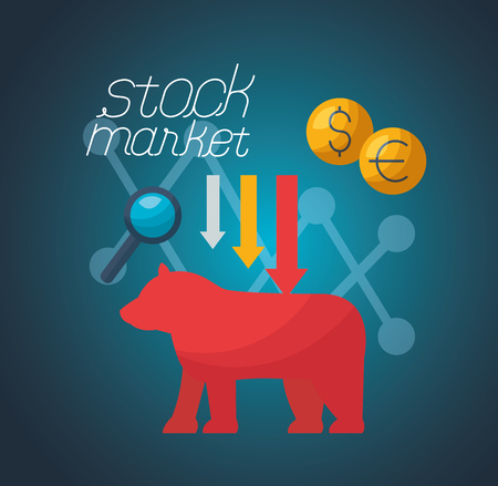 bear downward trend money financial stock market vector illustration
