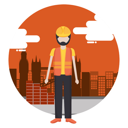 worker construction tool city background vector illustration Çizim