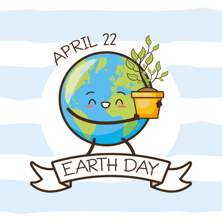 planet holding plant earth day card vector illustration