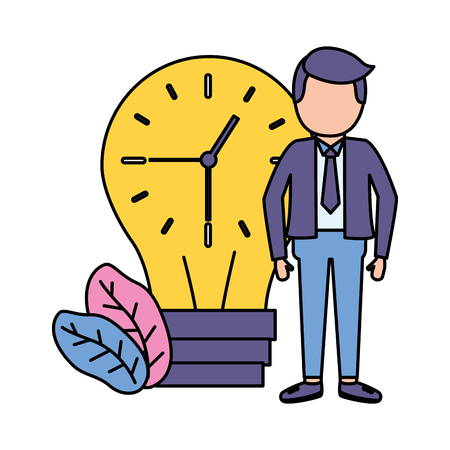 businessman clock in bulb time vector illustration vector illustration