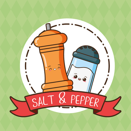 kawaii salt and pepper cartoon vector illustration Banque d'images - 124146745