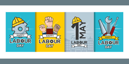 happy labour day banners helmet construction tools vector illustration