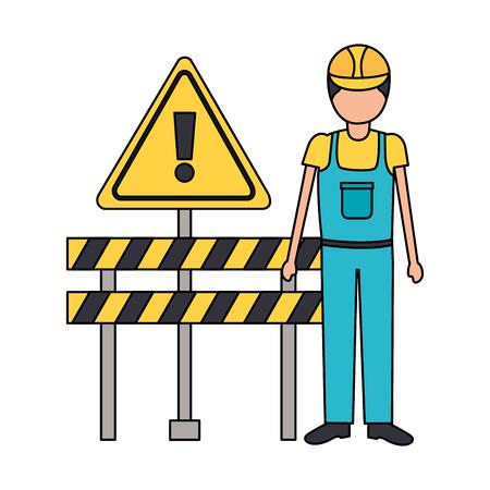 construction worker equipment barricade alert sign vector illustration Foto de archivo - 124146760
