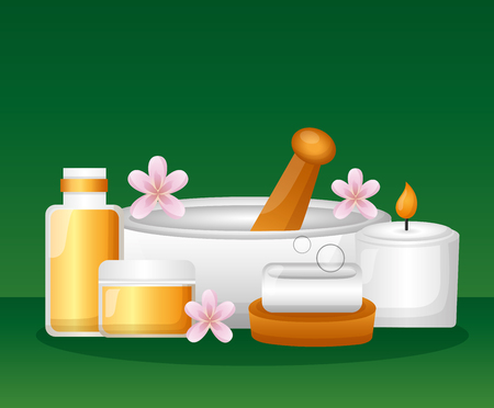 bowl soap cosmetics bottles flowers spa treatment therapy vector illustration Illustration