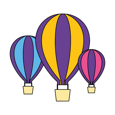 three hot air balloons adventure on white background vector illustration Stock fotó - 124146768