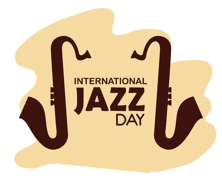 saxophones instruments to international jazz day vector illustration