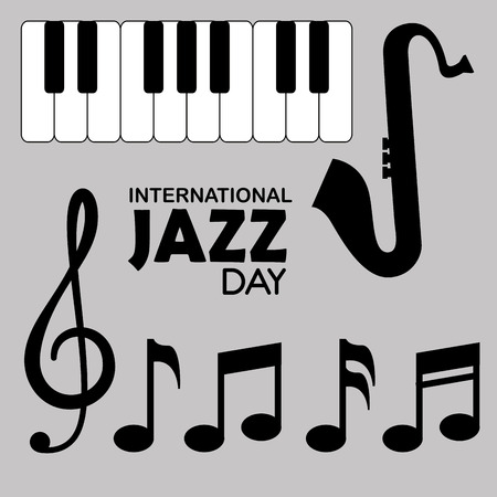 piano and saxophone instruments with music signs vector illustration