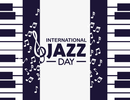pianos instruments to international jazz day vector illustration Illustration