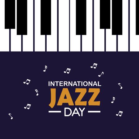 piano instrument to international jazz day vector illustration