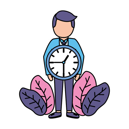 businessman clock time work design vector illustration vector illustration Illustration