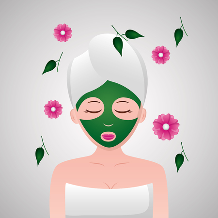woman with towel spa mask flowers vector illustration