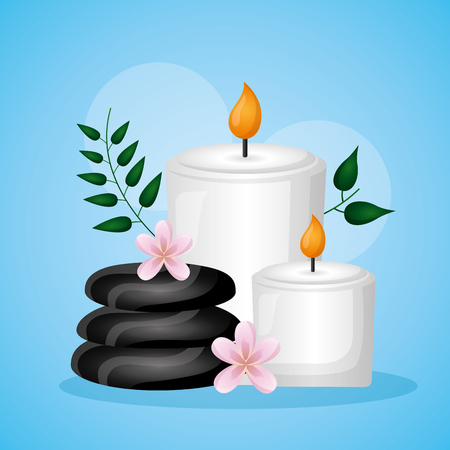 stones and candles flowers spa treatment therapy vector illustration