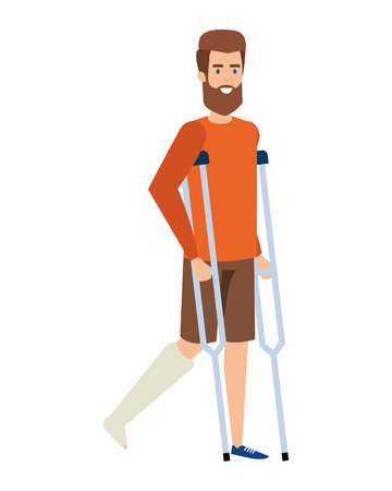 man in crutches character vector illustration design