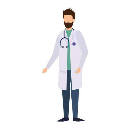 professional doctor with stethoscope character vector illustration design