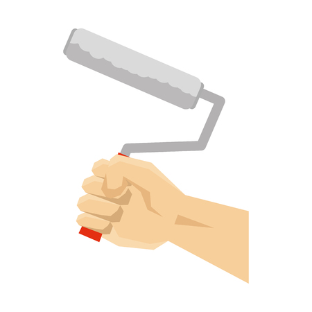 hand using paint roller vector illustration design