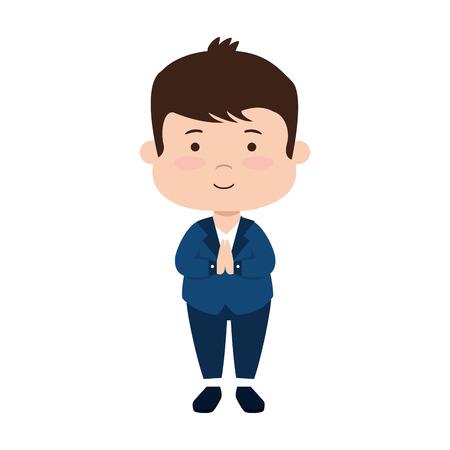 little boy first communion character vector illustration design