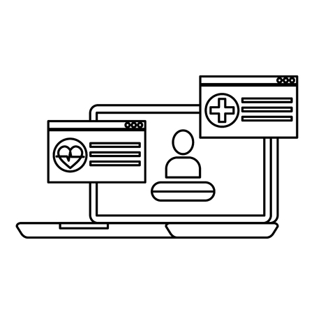 laptop with telemedicine service vector illustration design