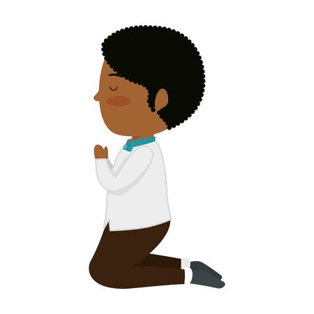 little black boy kneeling first communion vector illustration design