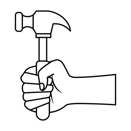 hand with hammer tool vector illustration design