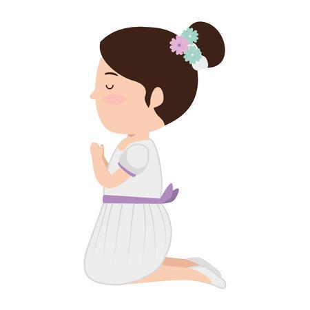 little girl kneeling first communion character vector illustration design Stock Illustratie